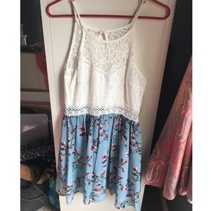 blue and white patterned summer dress
